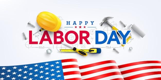 Dag van de arbeid poster sjabloon. viering van de dag van de arbeid in de verenigde staten met amerikaanse vlag Premium Vector