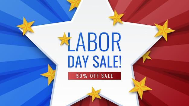Dag van de arbeid verkoop banner Premium Vector