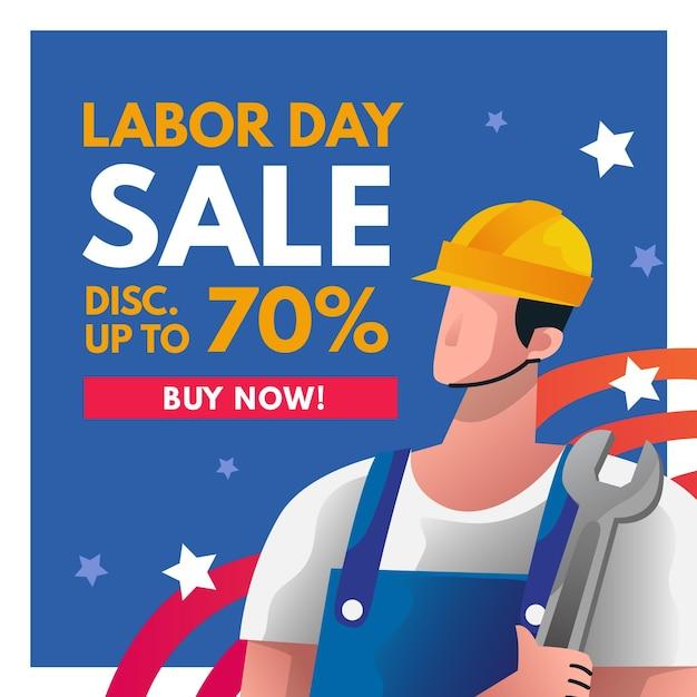 Dag van de arbeid verkoop gekwadrateerde banner Gratis Vector