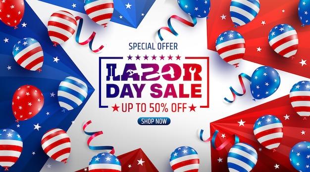 Dag van de arbeid verkoop poster sjabloon. vs dag van de arbeid viering met amerikaanse ballonnen vlag, ster en hulpmiddelen. Premium Vector
