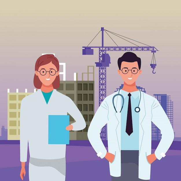 Dag van de arbeid werkgelegenheid bezetting nationale viering, artsen collega's werknemers vooraan stad bouw weergave illustratie Premium Vector