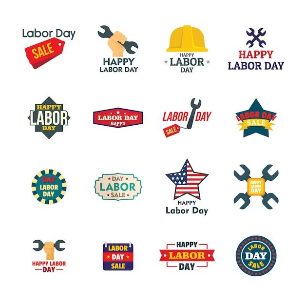 Dag van de arbeid werknemers verkoop viering logo pictogrammen instellen Premium Vector