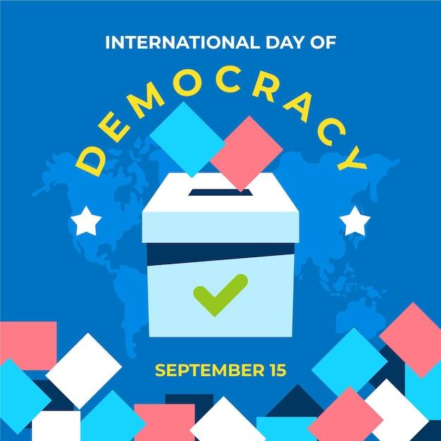 Dag van de democratie met stembus Gratis Vector