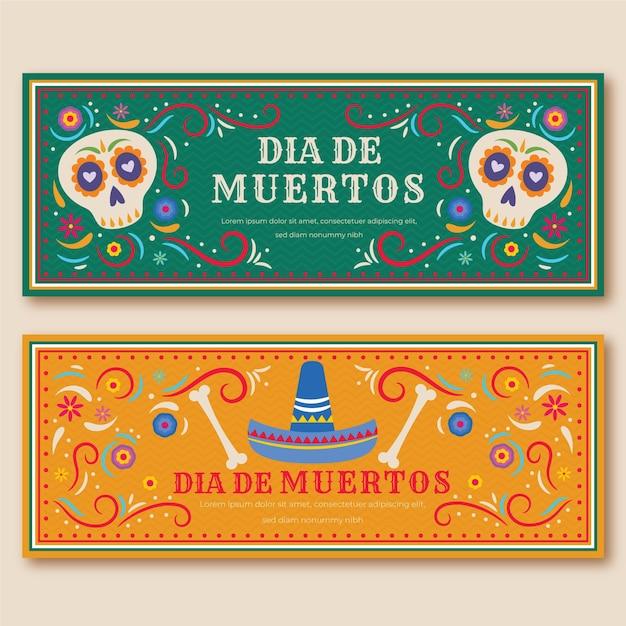 Dag van de dode banners vintage design Gratis Vector
