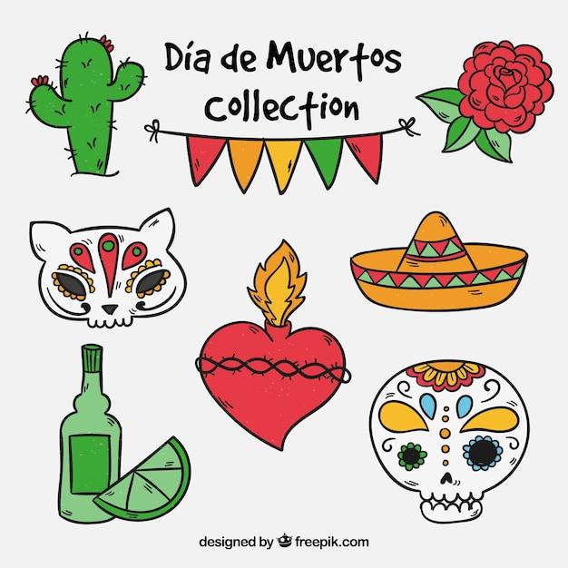 Dag van de dode object collectie Gratis Vector
