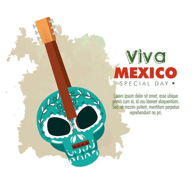 Dag van de dode viering met schedel gitaar Gratis Vector