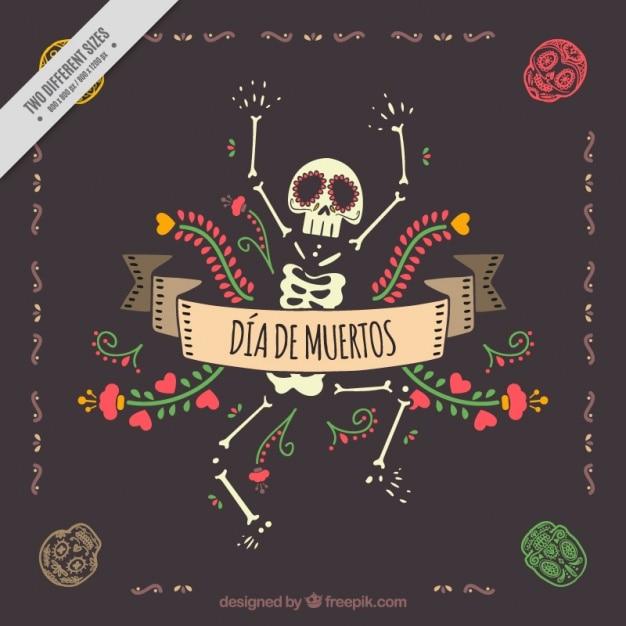 Dag van de doden decoratieve achtergrond met mooie skelet Gratis Vector