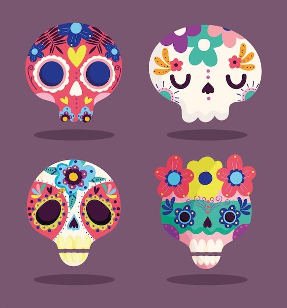 Dag van de doden, decoratieve suiker catrinas bloemen cultuur traditionele viering mexicaanse iconen Premium Vector