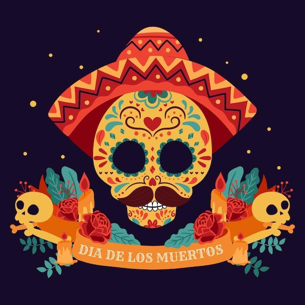 Dag van de doden, dia de los muertos, met kleurrijke mexicaanse bloemen. Premium Vector