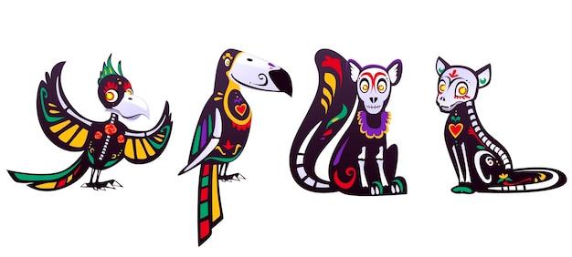 Dag van de doden, dia de los muertos, papegaai, toekan, lemur, kat schedels en skelet versierd Gratis Vector