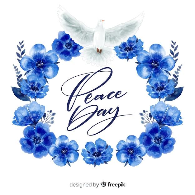 Dag van de vrede concept met letters Gratis Vector