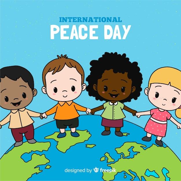 Dag van de vredessamenstelling met hand getrokken kinderen Gratis Vector