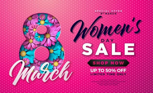 Dag van de vrouw te koop ontwerp met bloem op roze achtergrond Premium Vector