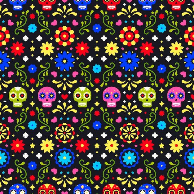 Dag van het dode naadloze patroon met kleurrijke schedels op donkere achtergrond Premium Vector