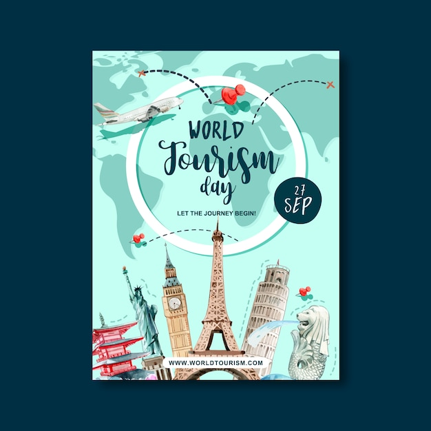 Dag van het toerisme posterontwerp met vluchtroute, reisplan, wereld, plan Gratis Vector