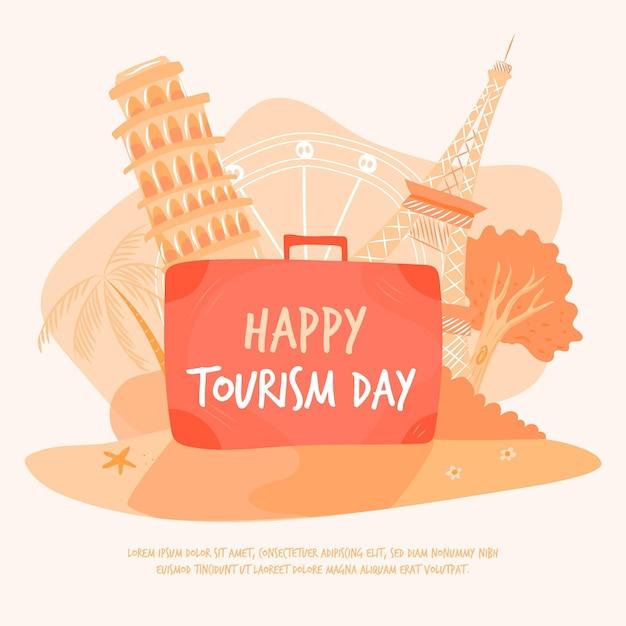 Dag van het toerisme Gratis Vector
