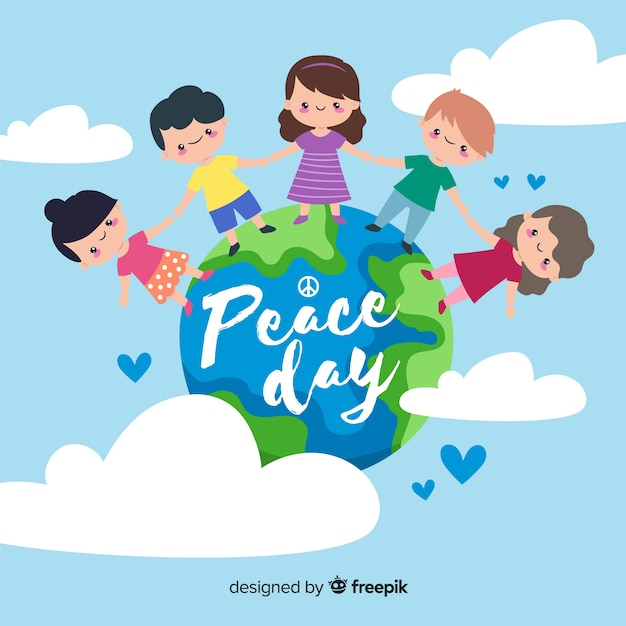 Dag van vrede en kinderen van over de hele wereld Gratis Vector