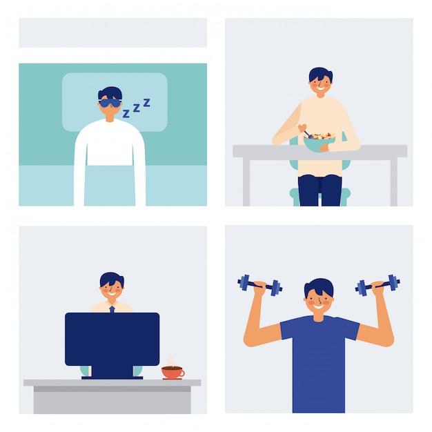 Dagelijkse activiteit man slapen eten en oefenen Gratis Vector