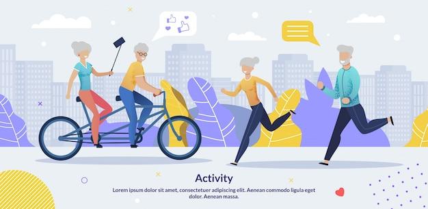 Dagelijkse activiteiten voor ouderen motiveer banner sjabloon Premium Vector