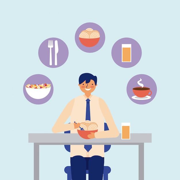 Dagelijkse activiteitenzakenman die lunch eten Gratis Vector