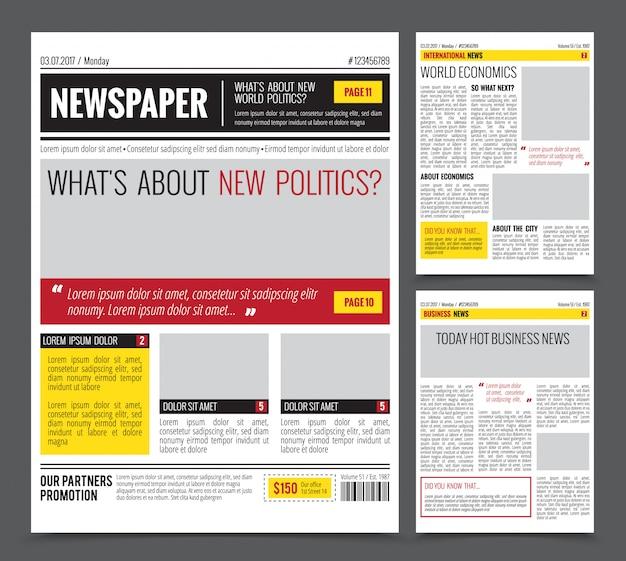 Dagelijkse krantensjabloon Gratis Vector