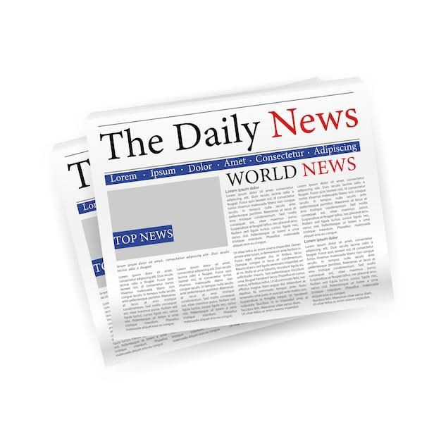 Dagelijkse nieuwskrant in papier gesneden. lege ruimte. illustratie. Premium Vector