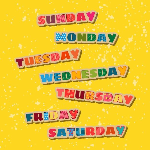 Dagen van de week pak Gratis Vector
