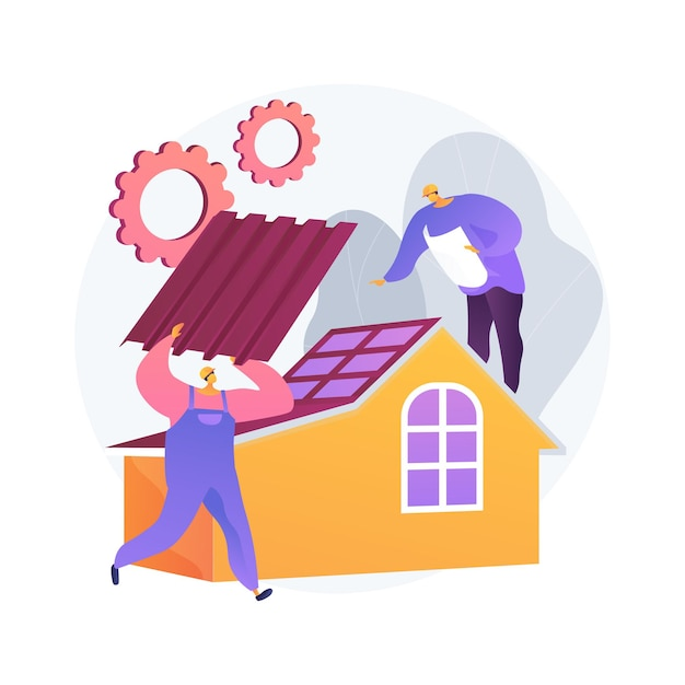 Dakbedekking diensten abstract concept illustratie. dakreparatie, piekdakaannemers, huisonderhoud, lekinspectie, nieuwe dakinstallatie, stormschade, helling Gratis Vector