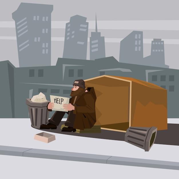 Dakloze bebaarde in armoedige kleding, achtergrond stad, kartonnen woning, bedrijf in handen een teken van hulp, vector, cartoon stijl, banner, illustratie Premium Vector