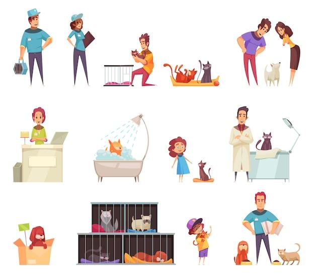 Dakloze huisdieren decoratieve pictogrammen die met mensen worden geplaatst die dieren thuis in schuilplaats en geïsoleerde dierenartskliniek verzorgen Gratis Vector
