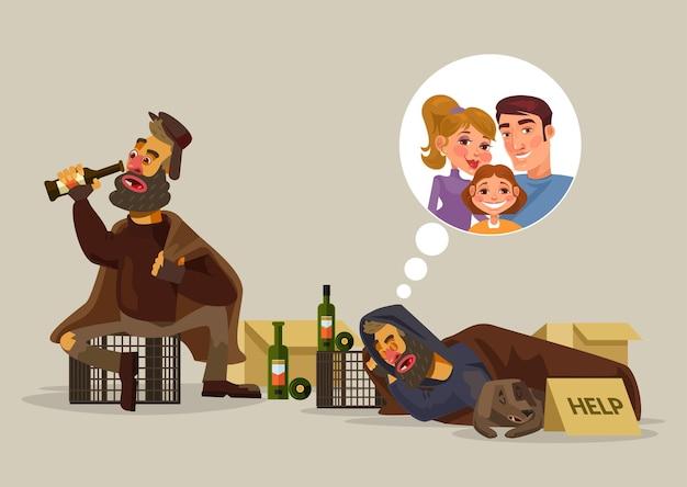Dakloze man droomt van familie cartoon afbeelding Premium Vector