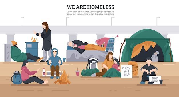 Dakloze mensen horizontale achtergrond Gratis Vector