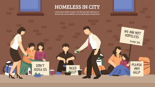 Dakloze mensen stadssamenstelling Gratis Vector
