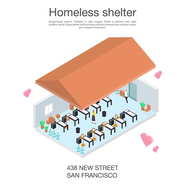 Dakloze onderdak vrijwilligerconcept banner, isometrische stijl Premium Vector