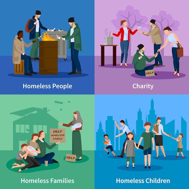 Dakloze personages met mensen warmen zich rond het vuur, bedelen, ontvangen donaties en dakloze kinderen en gezinnen Premium Vector