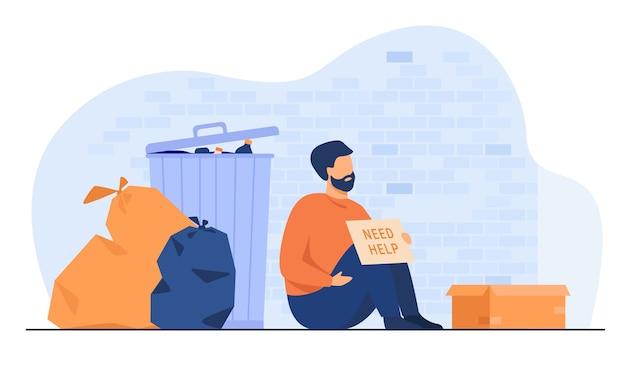 Dakloze vuile man zittend op de grond met naamplaatje hulp nodig geïsoleerde platte vectorillustratie. cartoon wanhopige arme persoon zittend op straat in de buurt van afval. liefdadigheid en werkloosheid concept Gratis Vector