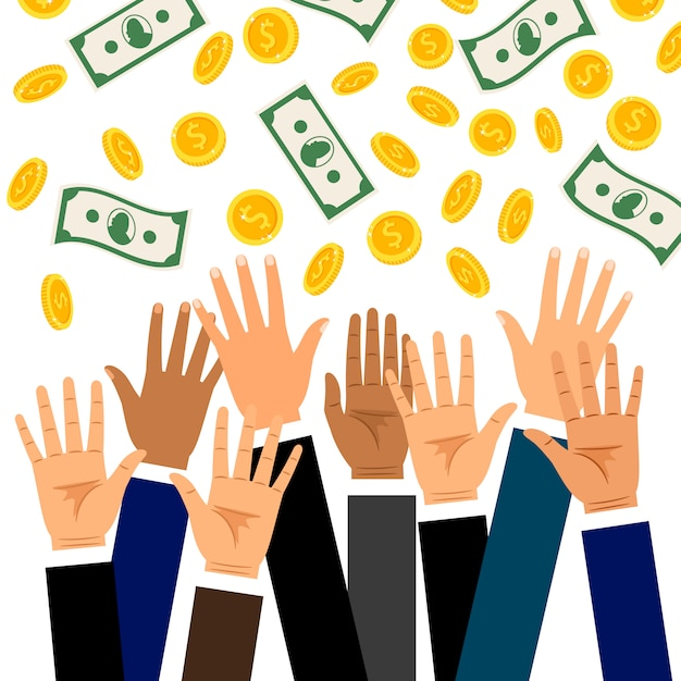 Dalende dollar munten en bankbiljetten regen met opgeheven zakenman handen Premium Vector