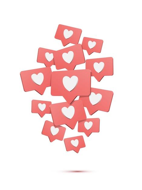 Dalende sociale media likes, commentaar cartoon afbeelding, tekstballonnen met harten isometrische ontwerpelementen. Premium Vector