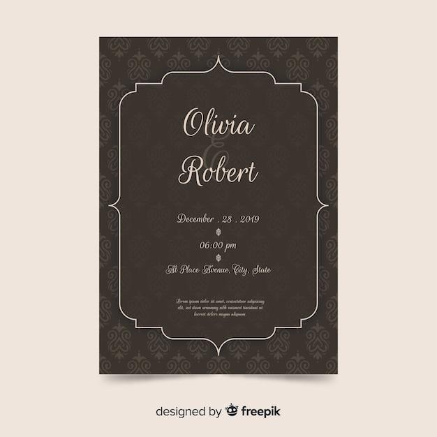 Damast bruiloft uitnodiging sjabloon in elegante stijl Gratis Vector