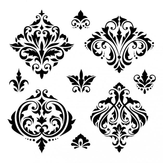 Damast floral barokke elementen Premium Vector