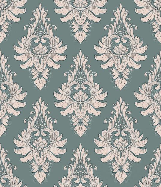 Damast naadloos patroonelement. vector klassiek luxe ouderwets damastornament, koninklijke victoriaanse naadloze textuur voor behang, textiel, het verpakken. vintage prachtige bloemen barokke sjabloon. Gratis Vector