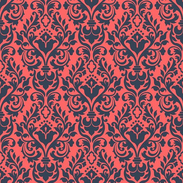 Damast naadloze patroon achtergrond. het klassieke ornament van het luxe ouderwetse damast Gratis Vector