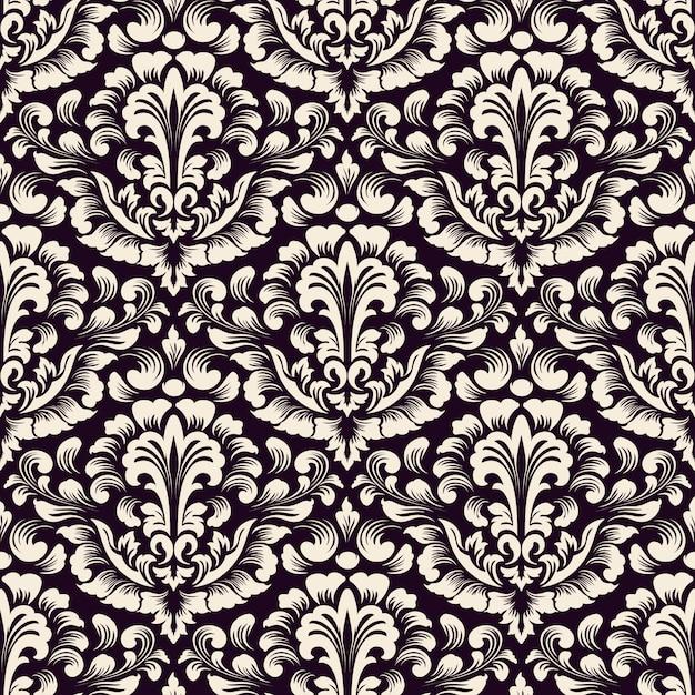 Damast naadloze patroon achtergrond. klassiek luxe ouderwets damastornament, koninklijke victoriaanse naadloze textuur voor behang, textiel, verpakking. exquise bloemen barok sjabloon. Gratis Vector