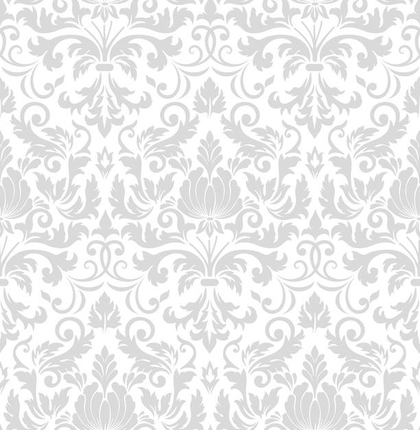 Damast naadloze patroonelement. het klassieke ornament van het luxe ouderwetse damast Gratis Vector