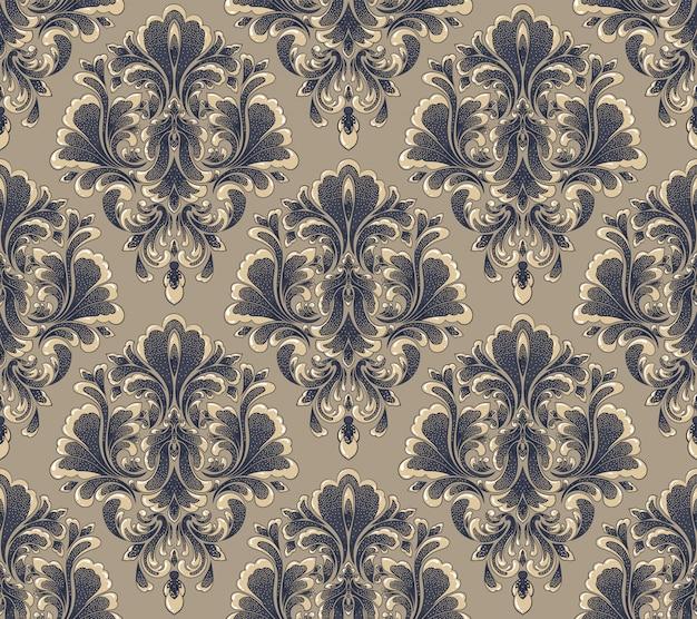 Damast naadloze reliëf patroon achtergrond. klassiek luxe oud damastornament, koninklijke victoriaanse naadloze textuur. vintage prachtige bloemen barokke sjabloon. Gratis Vector