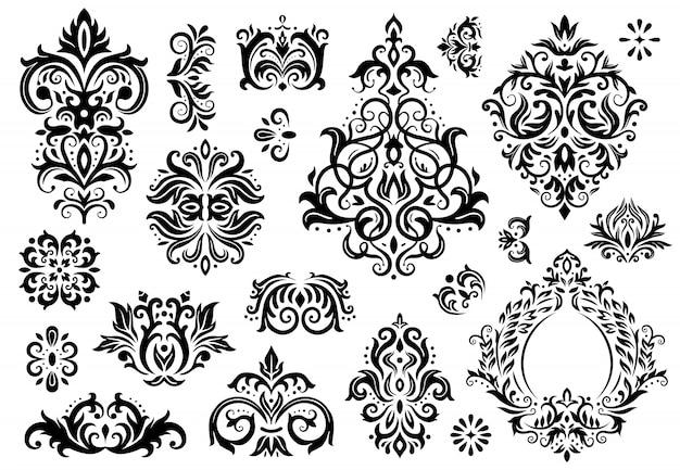 Damast ornament. vintage bloemen takjes patroon, barokke ornamenten en illustratie set victoriaanse decor sierpatronen Premium Vector