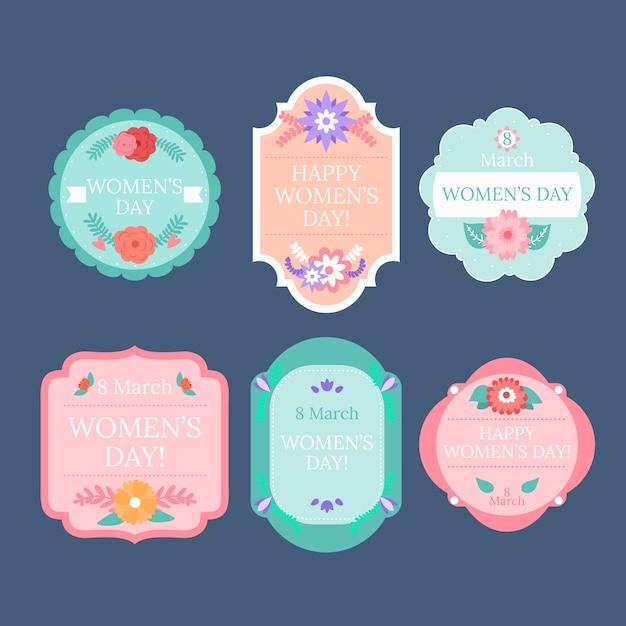 Dames dag badge collectie in plat ontwerp Gratis Vector