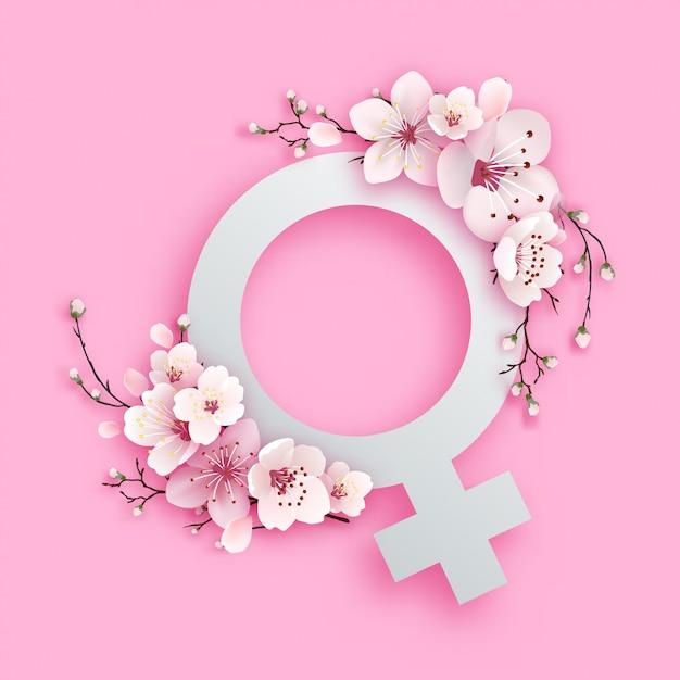 Dames symbool papier gesneden ontwerp met sakura bloem Premium Vector