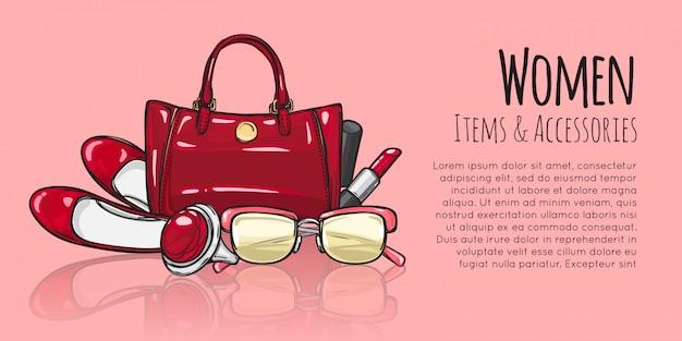Damesitems en accessoires. rode vrouwelijke objecten Premium Vector