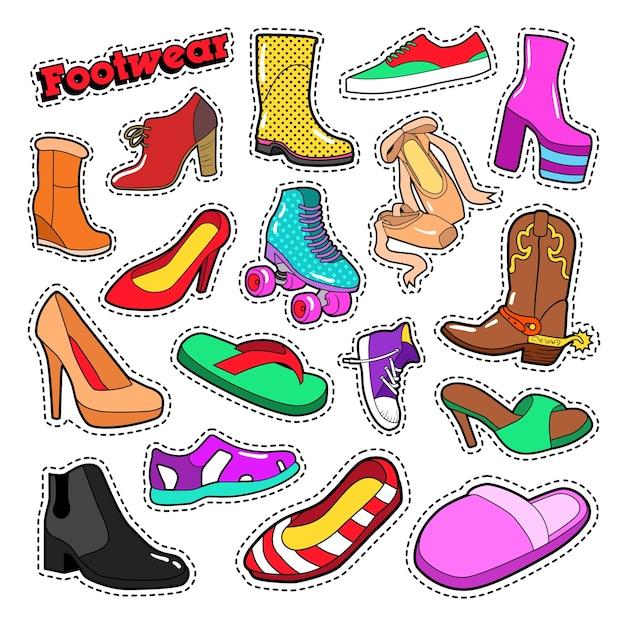 Damesmode schoenen en laarzen voor stickers, patches. vector doodle Premium Vector